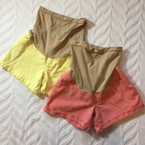 Maternity Colored Jean Shorts Yellow Coral Small